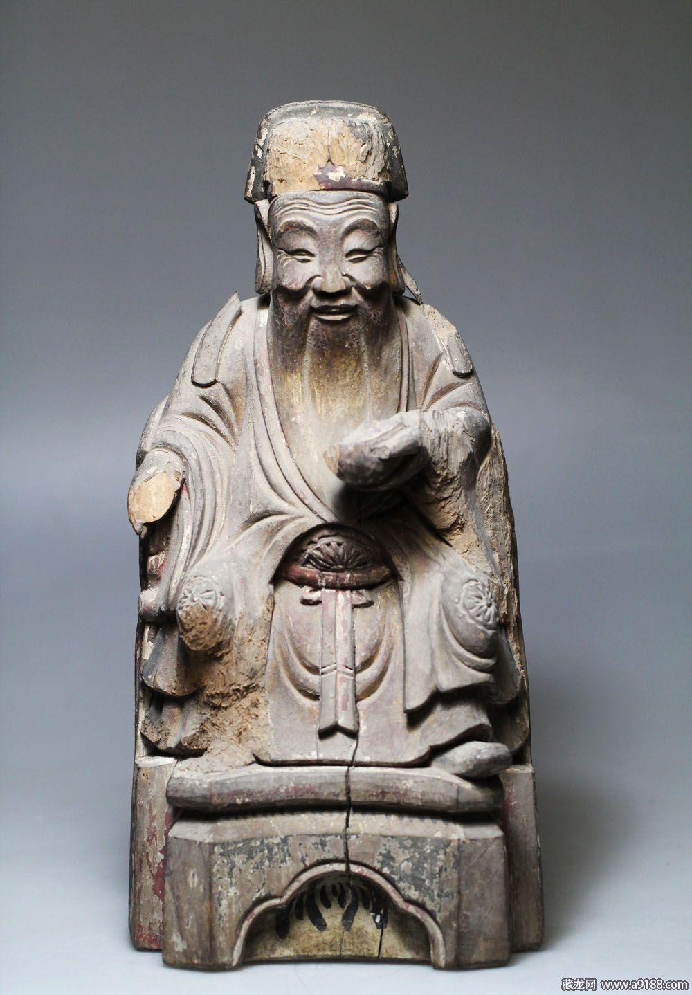 明代,木雕财神像