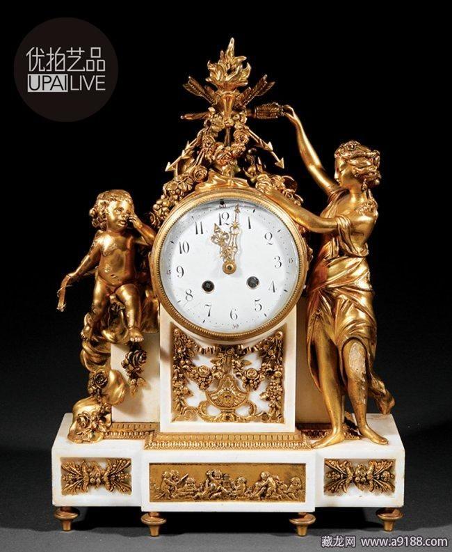 鎏金青铜镶白色大理石壁炉钟